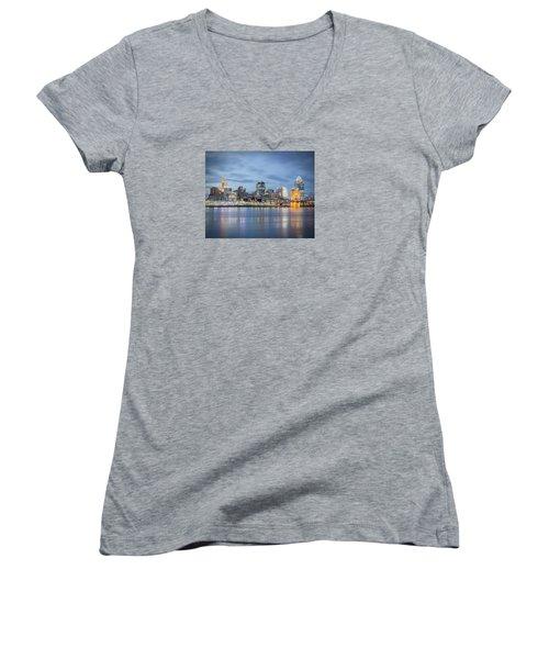 Cincinnati, Ohio Women's V-Neck T-Shirt (Junior Cut) by Scott Meyer