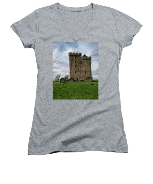 Women's V-Neck T-Shirt featuring the photograph Clackmannan Tower by Jeremy Lavender Photography