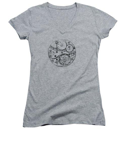Women's V-Neck T-Shirt (Junior Cut) featuring the digital art Clockwork Mechanism by Michal Boubin