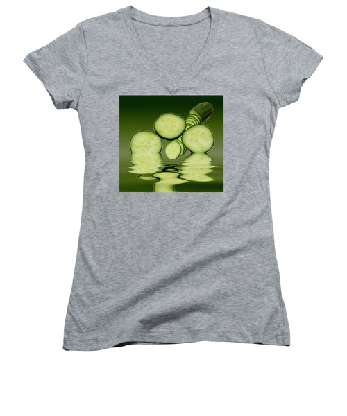 Cool As A Cucumber Slices Women's V-Neck T-Shirt (Junior Cut) by David French