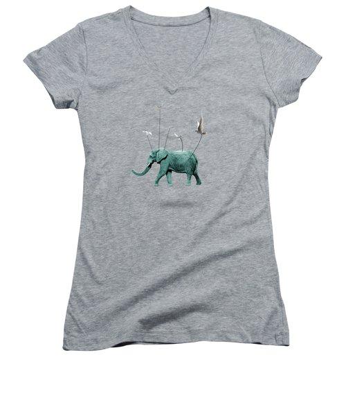 Elephant Women's V-Neck T-Shirt (Junior Cut) by Mark Ashkenazi