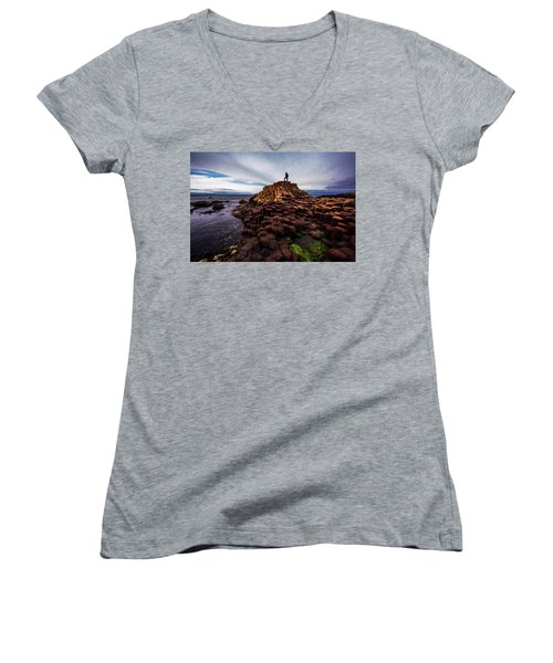 Man Atop Giant's Causeway Women's V-Neck (Athletic Fit)