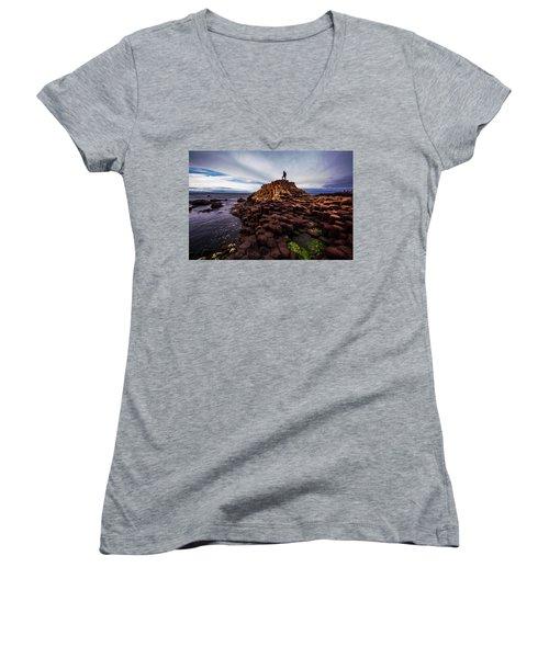 Man Atop Giant's Causeway Women's V-Neck T-Shirt