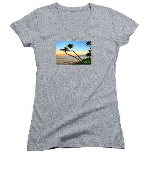 Island Sunrise Women's V-Neck T-Shirt (Junior Cut) by Kelly Wade