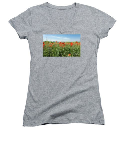 Meadow With Red Poppies Women's V-Neck (Athletic Fit)