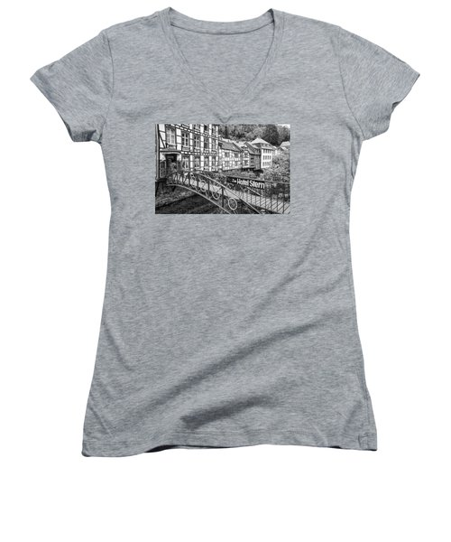 Monschau In Germany Women's V-Neck T-Shirt (Junior Cut) by Jeremy Lavender Photography