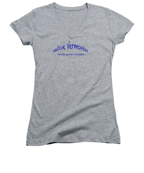 Native Vermonter Women's V-Neck T-Shirt (Junior Cut) by George Robinson