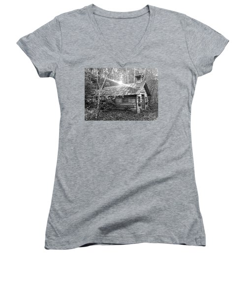 One Room School House Gnawbone Indiana Women's V-Neck T-Shirt (Junior Cut) by Scott D Van Osdol