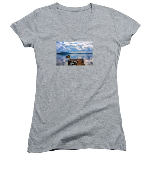 Women's V-Neck T-Shirt (Junior Cut) featuring the photograph Quiet Lake by Rick Bragan