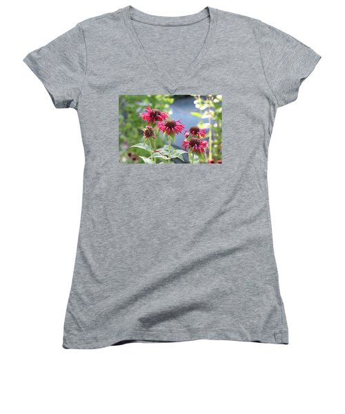 Red Flower Women's V-Neck (Athletic Fit)