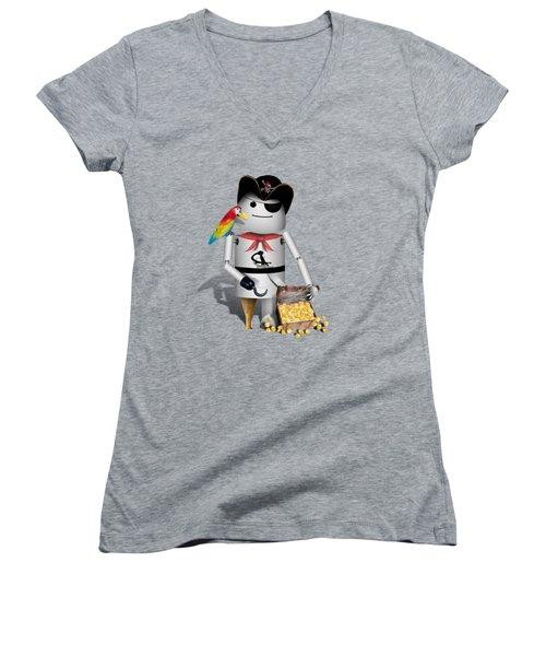 Robo-x9 The Pirate Women's V-Neck T-Shirt (Junior Cut) by Gravityx9  Designs