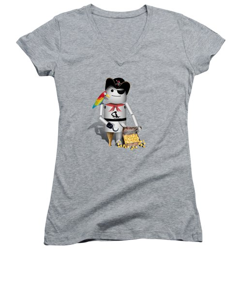 Robo-x9 The Pirate Women's V-Neck T-Shirt