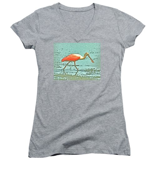 Women's V-Neck T-Shirt (Junior Cut) featuring the digital art 4- Roseate Spoonbill by Joseph Keane