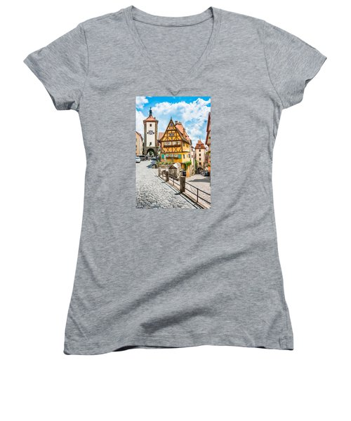 Rothenburg Ob Der Tauber Women's V-Neck T-Shirt (Junior Cut) by JR Photography
