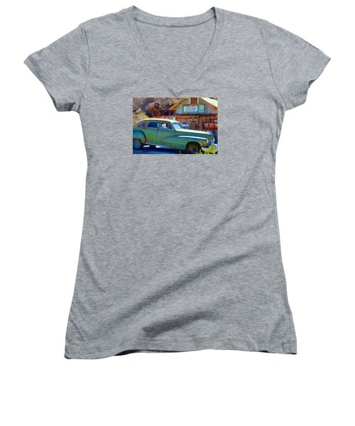 Techatticup Mine Ghost Town Nv Women's V-Neck T-Shirt (Junior Cut) by Marti Green
