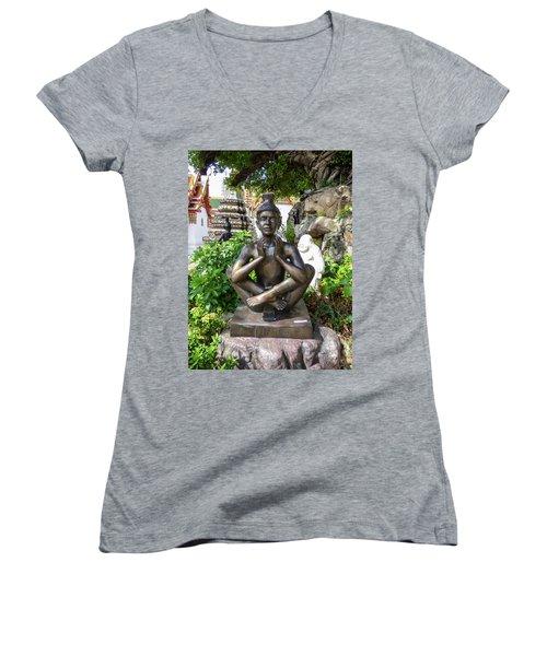 Thai Yoga Statue At Famous Wat Pho Temple Women's V-Neck (Athletic Fit)