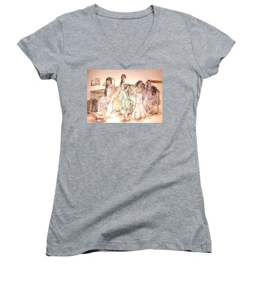 Women's V-Neck T-Shirt (Junior Cut) featuring the painting The Wedding Album  by Debbi Saccomanno Chan