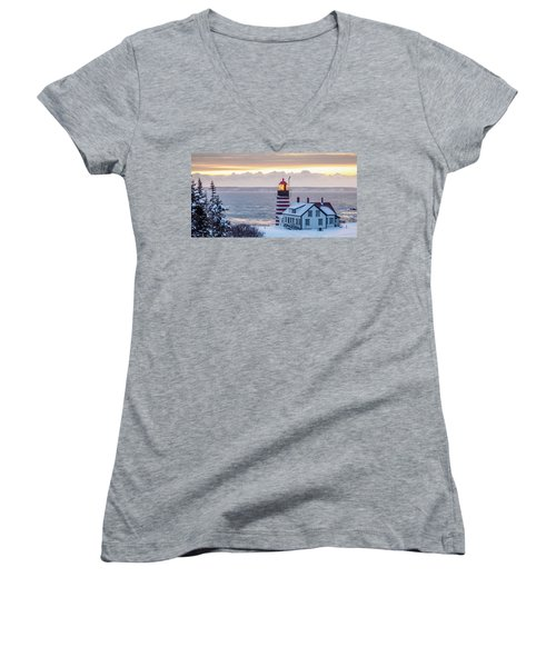West Quoddy Lighthouse Women's V-Neck T-Shirt (Junior Cut) by Trace Kittrell