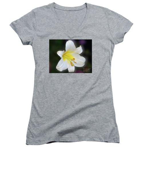 Women's V-Neck T-Shirt (Junior Cut) featuring the photograph White Lily by Elvira Ladocki