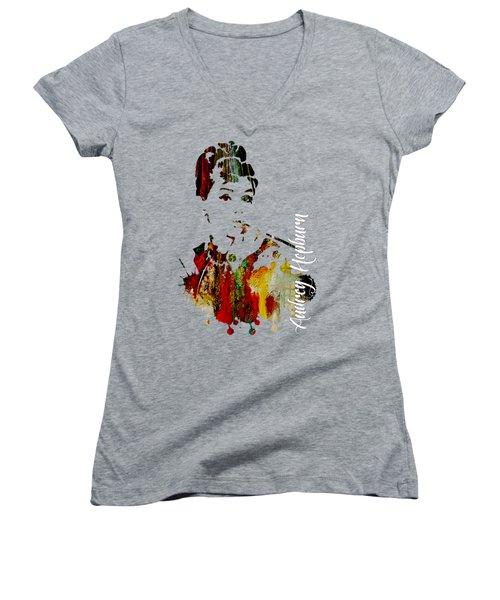 Audrey Hepburn Collection Women's V-Neck T-Shirt (Junior Cut) by Marvin Blaine