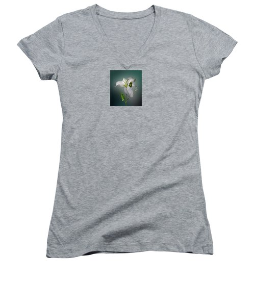 Women's V-Neck T-Shirt (Junior Cut) featuring the photograph 4371 by Peter Holme III