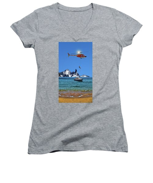 Women's V-Neck T-Shirt (Junior Cut) featuring the photograph 4372 by Peter Holme III