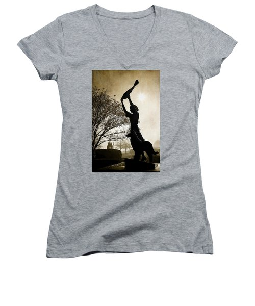 44 Years Of Waving Women's V-Neck T-Shirt (Junior Cut) by Renee Sullivan