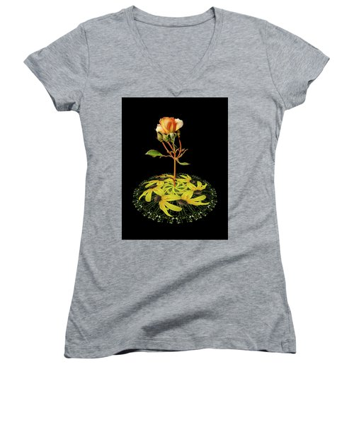 Women's V-Neck T-Shirt (Junior Cut) featuring the photograph 4407 by Peter Holme III