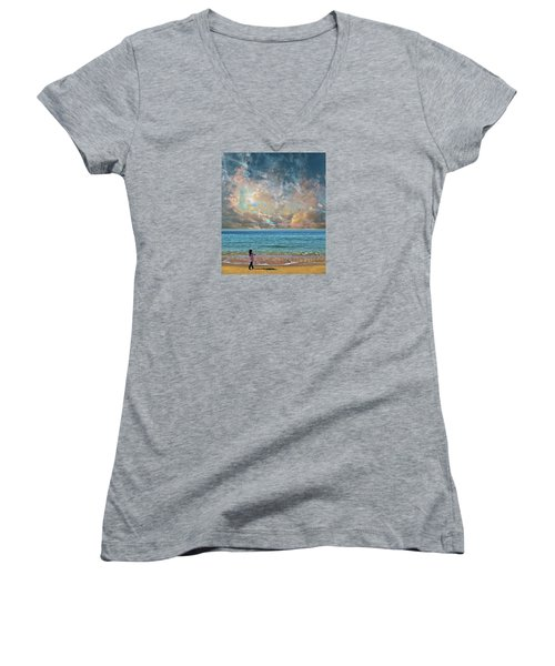 Women's V-Neck T-Shirt (Junior Cut) featuring the photograph 4410 by Peter Holme III