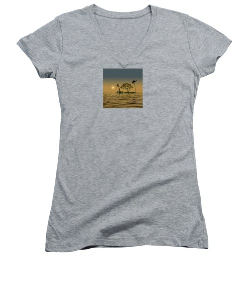 Women's V-Neck T-Shirt (Junior Cut) featuring the photograph 4423 by Peter Holme III