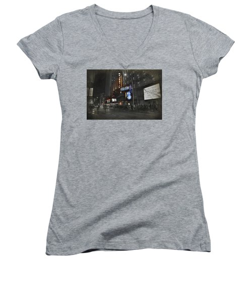 44th Street Nyc Women's V-Neck T-Shirt