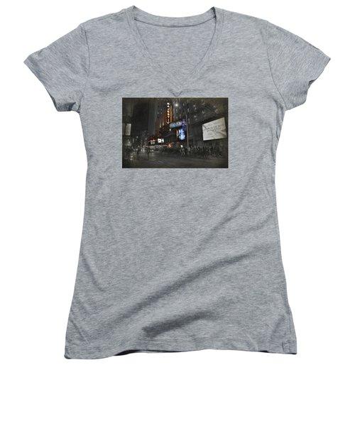 44th Street Nyc Women's V-Neck T-Shirt (Junior Cut)