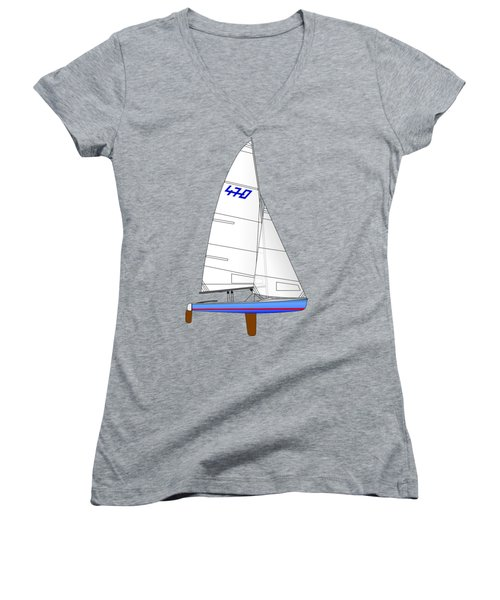 470 Olympic Sailboat Women's V-Neck (Athletic Fit)