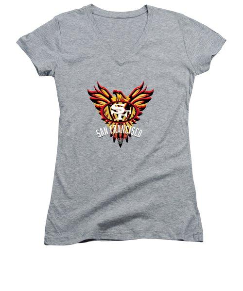 49er Phoenix  Women's V-Neck T-Shirt (Junior Cut) by Douglas Day Jones