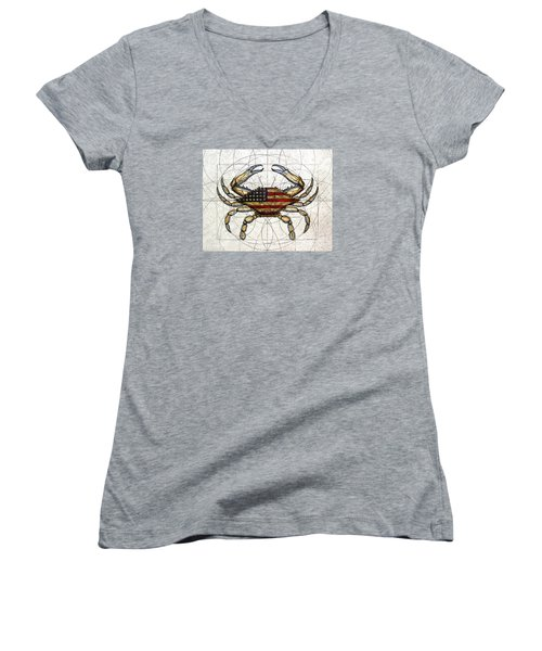 4th Of July Crab Women's V-Neck (Athletic Fit)