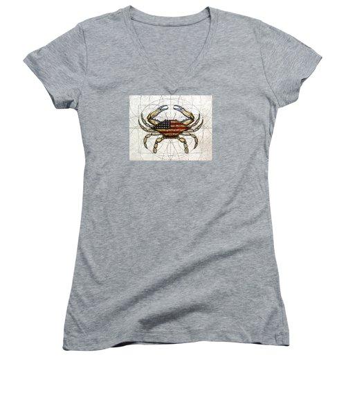 4th Of July Crab Women's V-Neck T-Shirt
