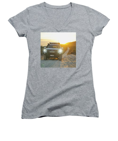 4wd Car Explores Sand Track In Early Morning Light Women's V-Neck