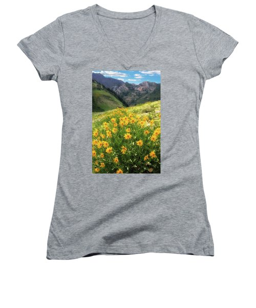 Albion Basin Wildflowers Women's V-Neck T-Shirt (Junior Cut) by Utah Images