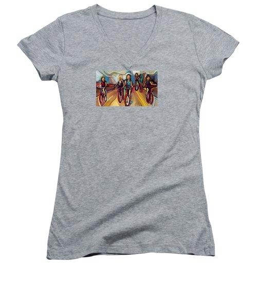 5 Bike Girls Women's V-Neck T-Shirt