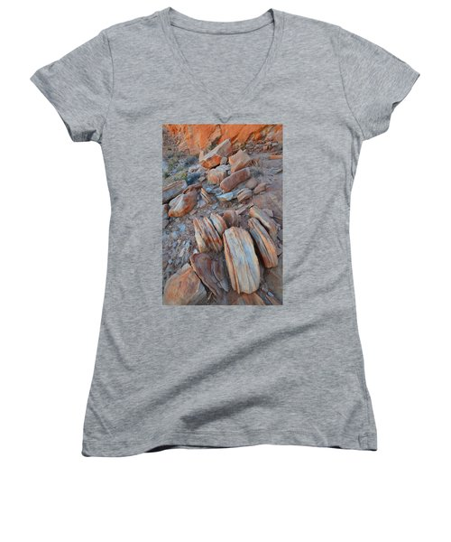 Women's V-Neck T-Shirt (Junior Cut) featuring the photograph Colorful Cove In Valley Of Fire by Ray Mathis