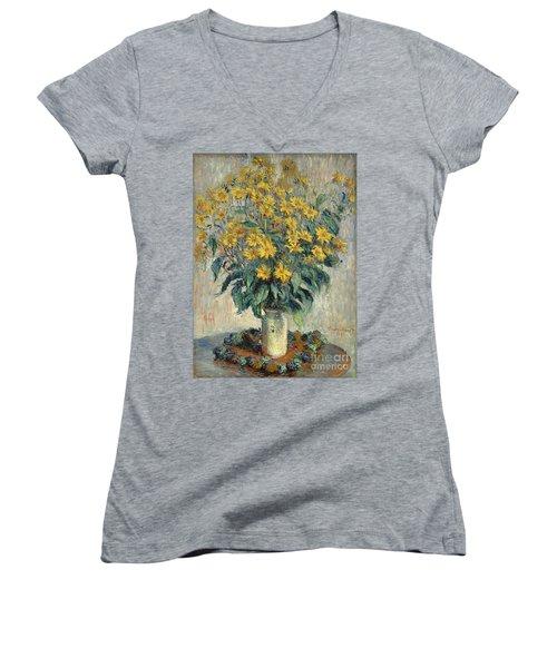 Jerusalem Artichoke Flowers Women's V-Neck T-Shirt (Junior Cut) by Claude Monet