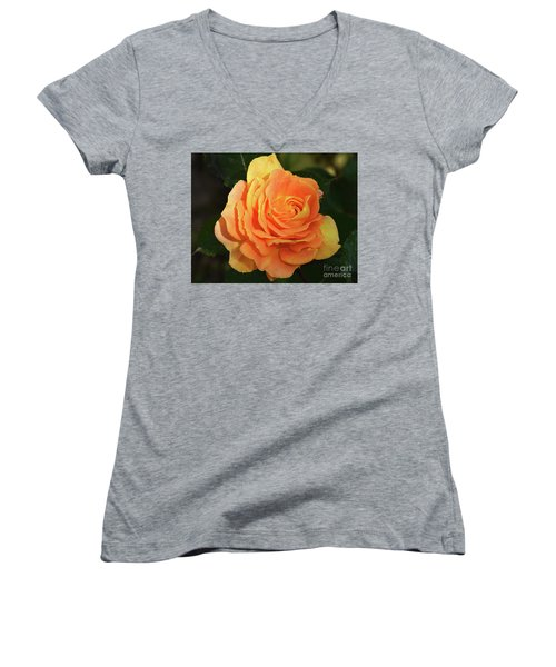 Women's V-Neck T-Shirt (Junior Cut) featuring the photograph Orange Rose by Elvira Ladocki