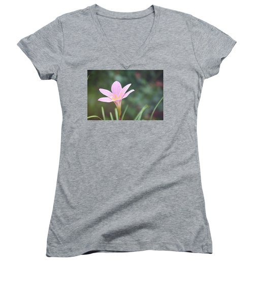 Pink Flower Women's V-Neck T-Shirt (Junior Cut) by Gordana Stanisic