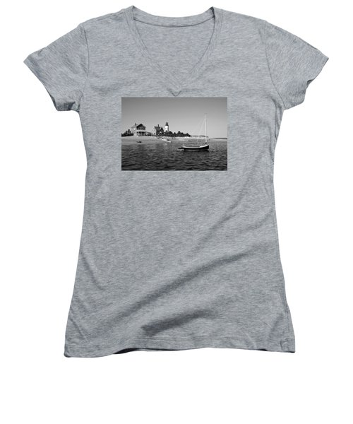 Sandy Neck Lighthouse Women's V-Neck T-Shirt (Junior Cut) by Charles Harden