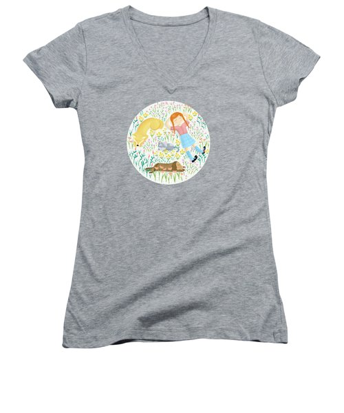 Summer Afternoon With Dogs, Cats And Clouds Women's V-Neck