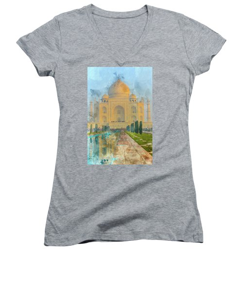 Taj Mahal In Agra India Women's V-Neck (Athletic Fit)