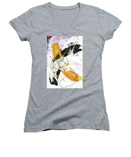 Women's V-Neck T-Shirt (Junior Cut) featuring the painting Three Color Palette by Michal Mitak Mahgerefteh