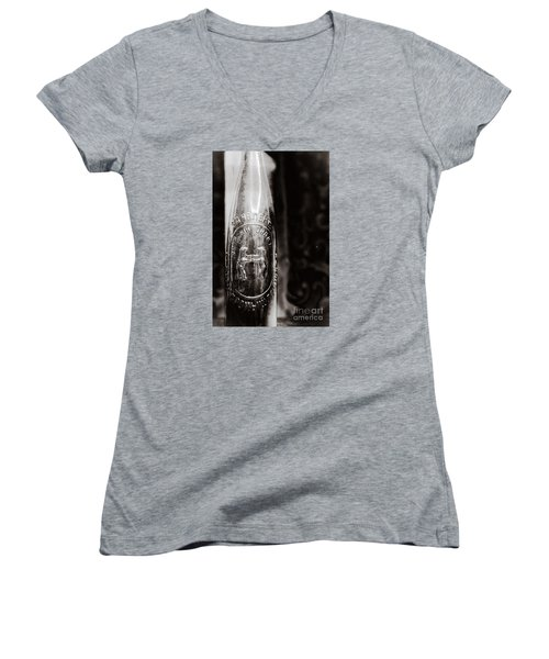 Women's V-Neck T-Shirt (Junior Cut) featuring the photograph Vintage Beer Bottle #0854 by Andrey  Godyaykin