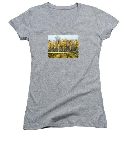 Watercolor Landscape Autumn Painting Forest Women's V-Neck T-Shirt (Junior Cut) by Odon Czintos