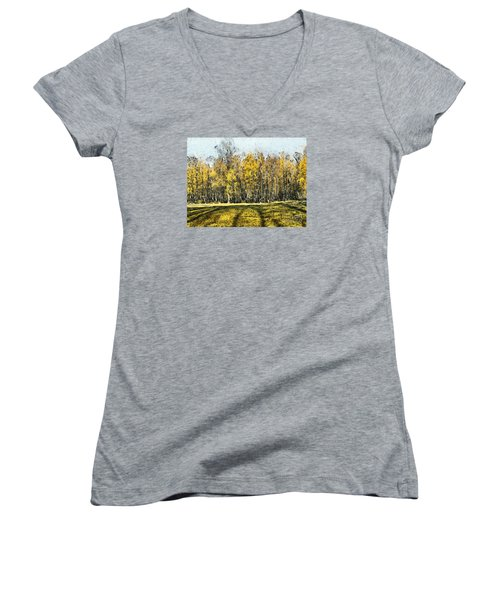 Watercolor Landscape Autumn Painting Forest Women's V-Neck (Athletic Fit)